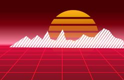 80s Retro future background. Vector futuristic synth retro wave illustration in 1980s posters style.  Royalty Free Stock Photography