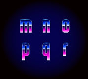 80s Retro Futurism Sci-Fi Font Alphabet. Vector Stock Illustration