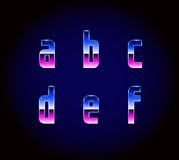 80s Retro Futurism Sci-Fi Font Alphabet Vector. EPS 10 Royalty Free Illustration