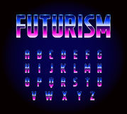 80s Retro Futurism Sci-Fi Font Alphabet Vector. EPS 10 Stock Illustration