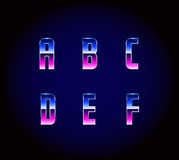 80s Retro Futurism Sci-Fi Font Alphabet Vector. EPS 10. EPS 10 Vector Illustration