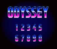80s Retro Futurism Sci-Fi Font Numbers Vector. EPS 10 Royalty Free Stock Photos