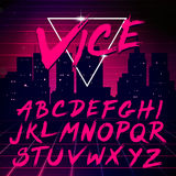 80s Retro Futurism style Font. Vector Brush Stroke Alphabet Royalty Free Stock Images