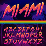 80s Retro Futurism style Font. Vector Brush Stroke Alphabet royalty free illustration
