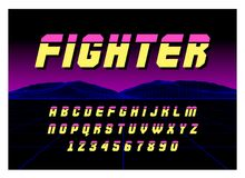 80`s Retro Futurism style Font. Vector Brush Stroke Alphabet. Retro Futurism Old VHS Style. Futuristic Gaming or Music. High Quality Vector Illustration in EPS Stock Photography