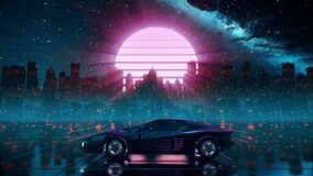 80s retro futuristic drive background. Stylized sci-fi city in outrun style