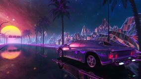 80s retro futuristic drive. Stylized sci-fi race in outrun style with night sky