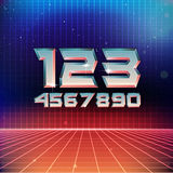 80s Retro Futuristic Numbers Royalty Free Stock Photo