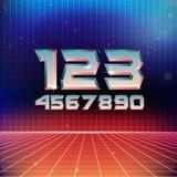80s Retro Futuristic Numbers. Vector illustration Royalty Free Stock Photo