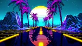 80s retro futuristic sci-fi background. VJ videogame landscape with neon lights