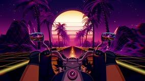80s retro futuristic sci-fi biker background. VJ landscape with motorcycle pov