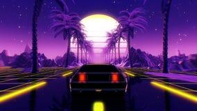 80s retro futuristic sci-fi 3D illustration. VJ landscape with vintage car
