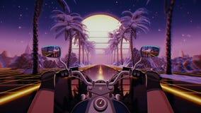80s retro futuristic sci-fi seamless loop. VJ landscape with motorcycle pov