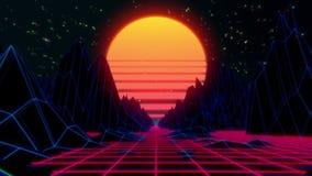 80s retro futuristic sci-fi seamless loop. VJ landscape with neon lights