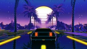80s retro futuristic sci-fi seamless loop. VJ landscape with vintage car