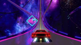 80s retro futuristic space drive seamless loop. Stylized highway in outrun style