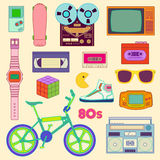 80s Retro. Lifestyle objects in color Stock Image