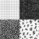 80s retro memphis pattern set with geometric shape. Set of retro vintage 80s seamless pattern in black and white with memphis fashion style geometric shapes Stock Photos