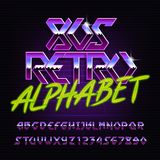 80s retro metal alphabet font. Chrome effect colorful shiny letters and numbers. royalty free illustration