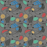 1950s Retro Mid-Century Seamless Pattern. Colourful seamless pattern inspired by retro 1950s design stock illustration