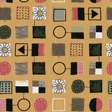 1950s Retro Mid-Century Seamless Pattern Stock Photo