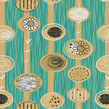 1950s Retro Mid-Century Seamless Pattern Stock Images