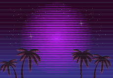 80s Retro Neon gradient background. Palms and sun. Tv glitch effect. Sci-fi beach. Stock Image