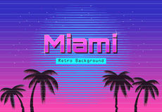 80s Retro Neon gradient background. Palms and sun. Tv glitch effect. Sci-fi Miami beach. Royalty Free Stock Images