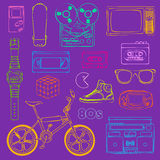 80s Retro objects outline Royalty Free Stock Image