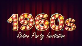 1960s Retro Party Invitation Vector. 1960 Style. Lamp Bulb. 3D Electric Glowing Illuminated Retro Sign. Poster, Flyer. Banner Template. Night Club, Disco Party royalty free illustration