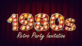1980s Retro Party Invitation Vector. 1980 Vintage Style Design. Shine Lamp Bulb. Glowing Classic Retro Poster, Flyer. Banner Template. Night Club, Disco Party Stock Photography