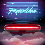 80s Retro Sci-Fi Background with car. 80s Retro Sci-Fi Background. Vector futuristic synth retro wave illustration in 1980s posters style. Suitable for any print Stock Image