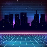 80s Retro Sci-Fi Background. With city silhouette vector illustration