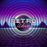 80s Retro Sci-Fi Background with Colorful Effects. Vector futuristic synth retro wave illustration in 1980s posters style. Suitable for any print design in 80s Royalty Free Stock Photography