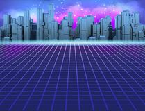 80s Retro Sci-Fi Background with Futuristic City. Synth retro wave illustration in 1980s posters style. Suitable for any design in 80s style. 3D illustration royalty free illustration