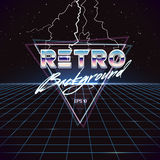 80s Retro Sci-Fi Background with Lightnings. Vector futuristic synth retro wave illustration in 1980s posters style. Suitable for any print design in 80s style Royalty Free Stock Photo