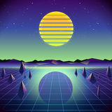 80s Retro Sci-Fi Background with Moon and Mountains. Vector futuristic synth retro wave illustration in 1980s posters style. Suitable for any print design in Royalty Free Stock Photography