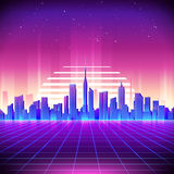 80s Retro Sci-Fi Background with Night City Skyline. Vector futuristic synth retro wave illustration in 1980s posters style. Suitable for any print design in Stock Photos