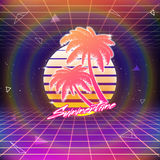 80s Retro Sci-Fi Background with Palms and Sun Stock Image