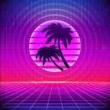 80s Retro Sci-Fi Background with Palms. Vector futuristic synth retro wave illustration in 1980s posters style. Suitable for any print design in 80s style Royalty Free Stock Photos