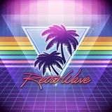 80s Retro Sci-Fi Background with Palms. Vector futuristic synth retro wave illustration in 1980s posters style. Suitable for any print design in 80s style Stock Images