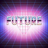 80s Retro Sci-Fi Background with Placeholder. Vector futuristic synth retro wave illustration in 1980s posters style. Suitable for any print design in 80s Royalty Free Stock Image