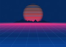 80s Retro Sci-Fi Background. Retro futuristic background, synth retro wave. Disco background template. Vector Royalty Free Stock Photo