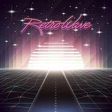 80s Retro Sci-Fi Background with Road and Sun. Vector futuristic synth retro wave illustration in 1980s posters style. Suitable for any print design in 80s Stock Photos
