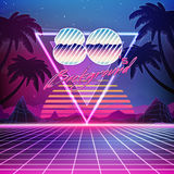 80s Retro Sci-Fi Background with Summer Landscape. Vector futuristic synth retro wave illustration in 1980s posters style. Suitable for any print design in 80s Stock Images
