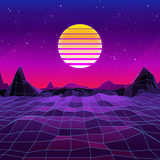 80s Retro Sci-Fi Background with Sun and Mountains. Vector futuristic synth retro wave illustration in 1980s posters style. Suitable for any print design in Stock Photos