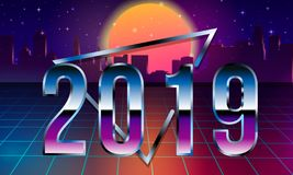 80s Retro Sci-Fi Background 2019 with Sunrise or Sunset. Vector futuristic synth retro wave illustration in 1980s. 80s Retro Sci-Fi Background with Sunrise or royalty free illustration