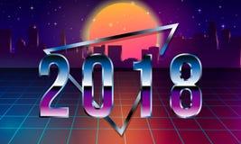 80s Retro Sci-Fi Background 2018 with Sunrise or Sunset. Vector futuristic synth retro wave illustration in 1980s. 80s Retro Sci-Fi Background with Sunrise or stock illustration