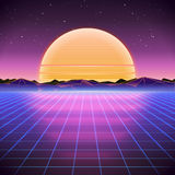 80s Retro Sci-Fi Background with Sunrise or Sunset. Vector futuristic synth retro wave illustration in 1980s posters style. Suitable for any print design in Royalty Free Stock Image
