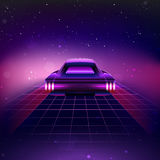 80s Retro Sci-Fi Background with Supercar. Vector retro futuristic synth retro wave illustration in 1980s posters style stock illustration